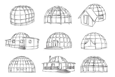 Sketch of individual spherical domed house. Vector isolated set for design on white background