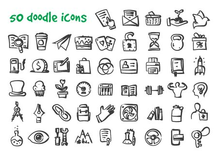 Vector doodle icons set. Stock cartoon signs for web design. Vettoriali