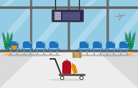 Background of hall at airport in flat style vector illustration with big and large windows, seats, airplane and bags