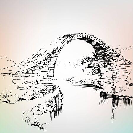 Bosquejo del paisaje de las ramas de un arce cerca del puente de piedra sobre el río