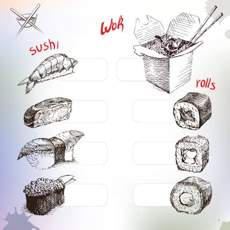Sushi and rolls, hand drawing box and rice, noodles. with sticks.