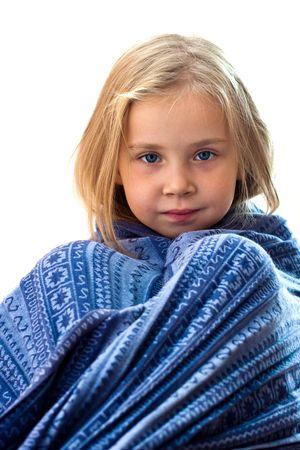 Beautiful girl in blue blanket Stock Photo - 8058553