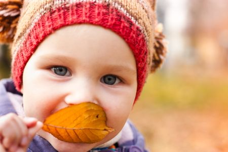 Beautiful baby with an autumn leaf smiling outdoor against autumn nature photo