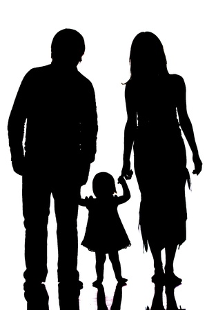 Happy family silhouette isolated on white photo