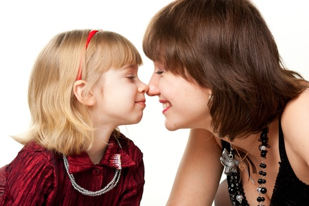 noses: Happy mother and daughter playing isolated on white