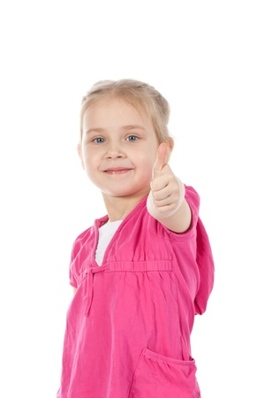 Portrait of a beautiful and confident girl showing thumbs up isolated one white  Stock Photo - 10354006