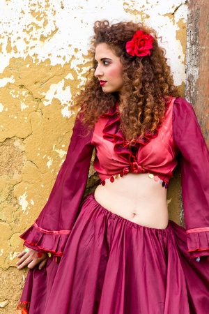 gipsy: Portrait of beautiful gypsy woman outdoor Stock Photo