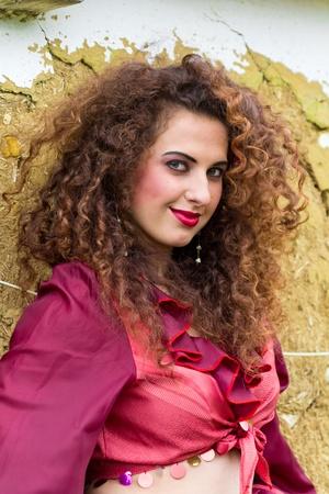 Portrait of beautiful gypsy girl outdoor photo