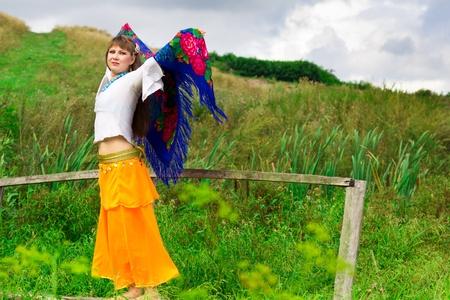 Beautiful russian girl outdoor Stock Photo - 10696924