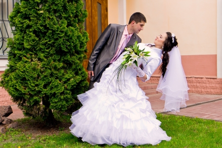 Happy bride and groom outdoor Stock Photo - 13716199