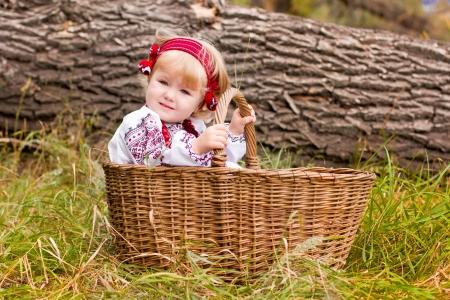 Beautiful girl in ukrainian costume in a basket outdoor photo