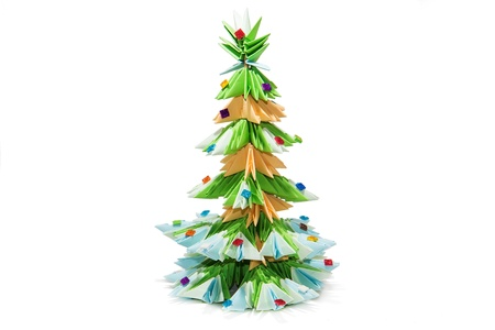Origami Christmas tree isolated on white background photo