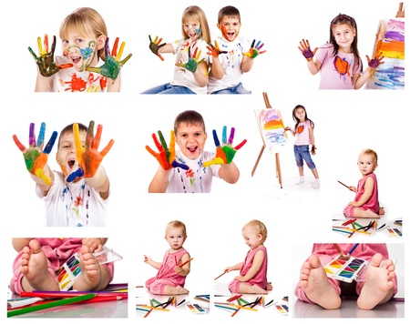 Collection of photos of kids painting with colors  over white background