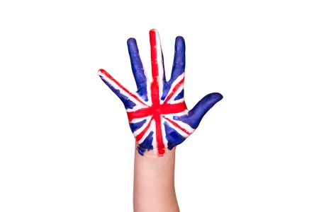 The United Kingdom flag on a hand isolated on white  Eurotrip  Travelling toThe United Kingdom concept Stock Photo - 17711269
