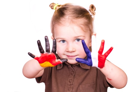 german girl: Beautiful girl with hands painted as German and French flags isolated on white  Study languages and travelling concept