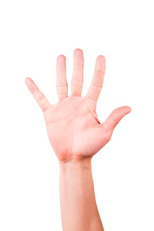 hands solution: Male hand showing number five, palm isolated on white