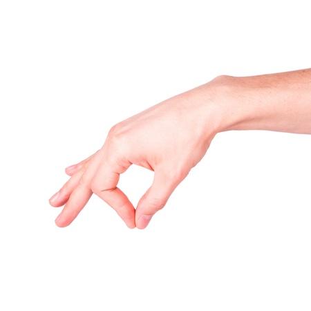 suggesting: Male hand holding something isolated on white