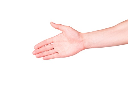 Male hand stretching for handshake isolated on white Reklamní fotografie - 18211840