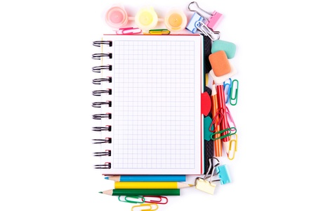 School and office stationary isolated on white. Back to school concept photo