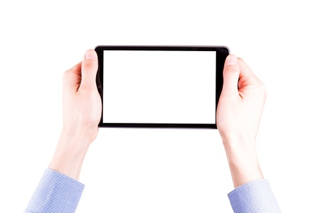 Male hand holding a tablet PC with space for you text isolated on white Stock Photo