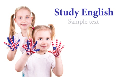 learn english: American and English flags on child