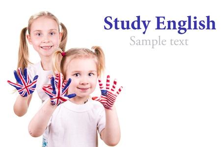 Americké a anglické vlajky na dítě Reklamní fotografie - 18435425