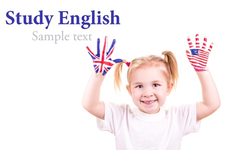 english girl: American and English flags on child