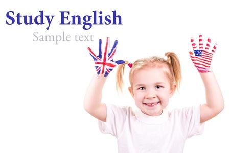 Americké a anglické vlajky na dítě