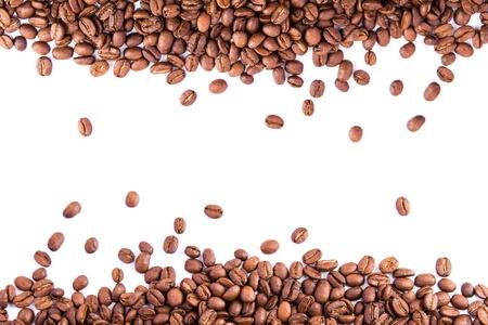 coffe bean: Chicchi di caff� come sfondo isolato su bianco Archivio Fotografico
