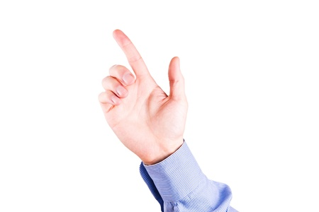 suggesting: Male hand with pointing finger showing something isolated on white Stock Photo
