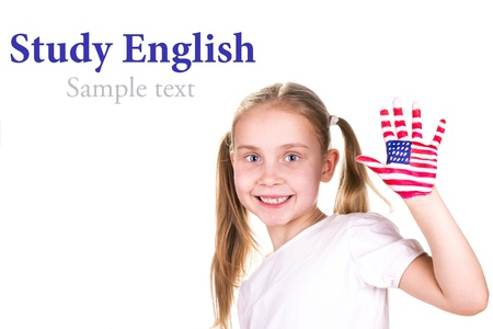 American and English flags on child photo