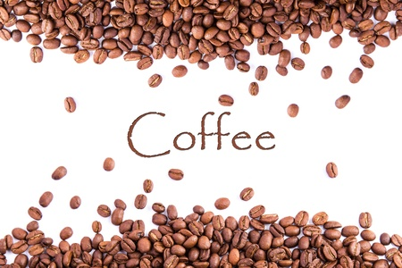 Coffee beans as a background isolated on white Stock Photo - 18784227