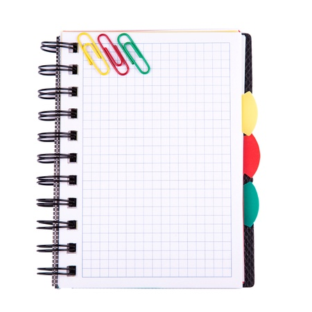 Office notebook isolated on white. Back to school concept. Post it note. photo