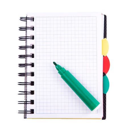 Office notebook isolated on white  Back to school concept  Post it note  photo