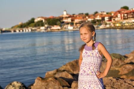 bulgaria girl: Beautiful little girl in the Nesebar, the ancient city on the Black Sea coast of Bulgaria