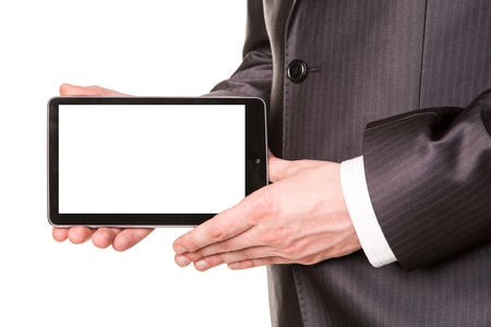 Businessman's hands showing a tablet pc comuter with blank screen for your sample text isolated on white photo