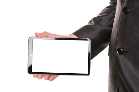 Businessman's hand showing a tablet pc comuter with blank screen for your sample text isolated on white photo