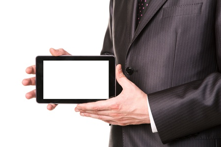 Businessman's hand showing a tablet pc comuter with blank screen for your sample text isolated on white Stock Photo - 19062943