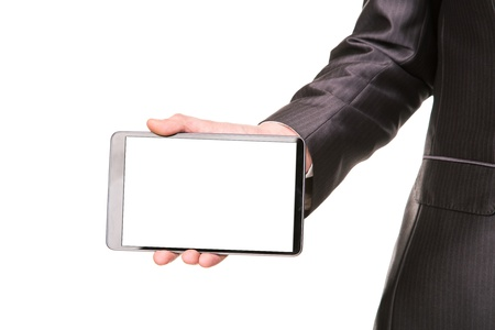 Young businessman showing a tablet pc comuter with blank screen for your sample text isolated on white photo