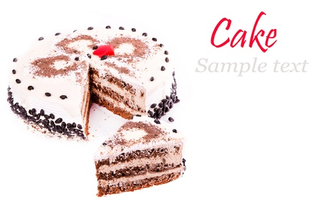 Tasty coffee chocolate cake isolated on white photo