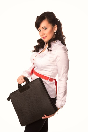 Beautiful smiling business woman holding black briefcase isolated on white background photo