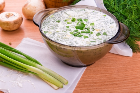 Cold yogurt soup with dill and yolk, russian traditional dish- okroshka photo