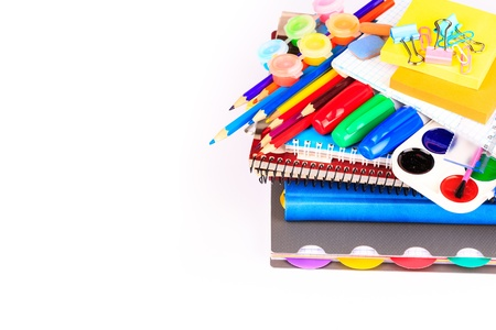Office stationary isolated on white  Back to school concept  photo