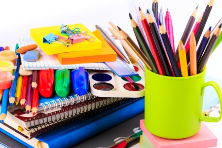 stationary: Office stationary isolated on white. Back to school concept. Stock Photo