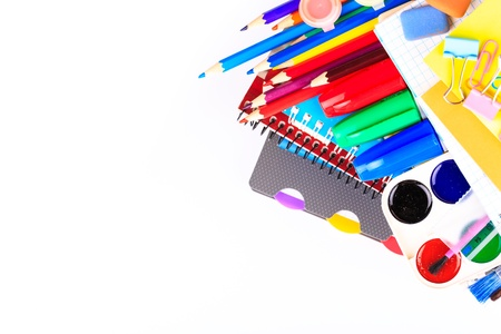 Office stationary isolated on white. Back to school concept. photo