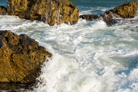 Sea, big wave and splashes over the stones at the sea shore Stock Photo - 22845671