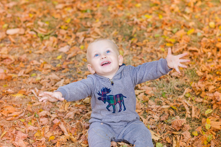 family fun: Cute baby in autumn leaves. First autumn