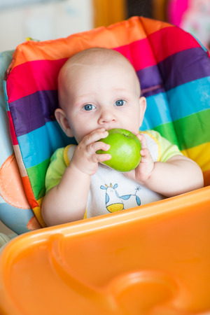 solid food: Adorable baby eating apple in high chair. Babys first solid food