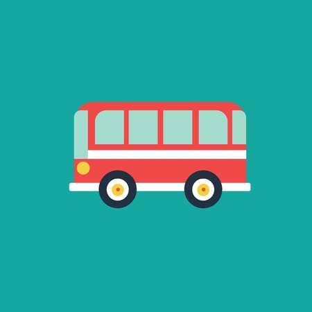 front wheel drive: Bus flat icon, vector illustration. Travelling concept