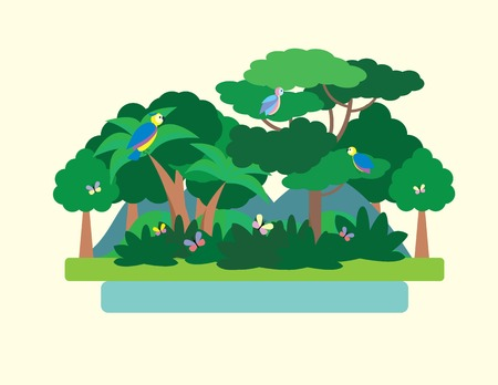Tropical Forest Green Landscape with birds and butterflies, nature. Flat vector illustration Illustration